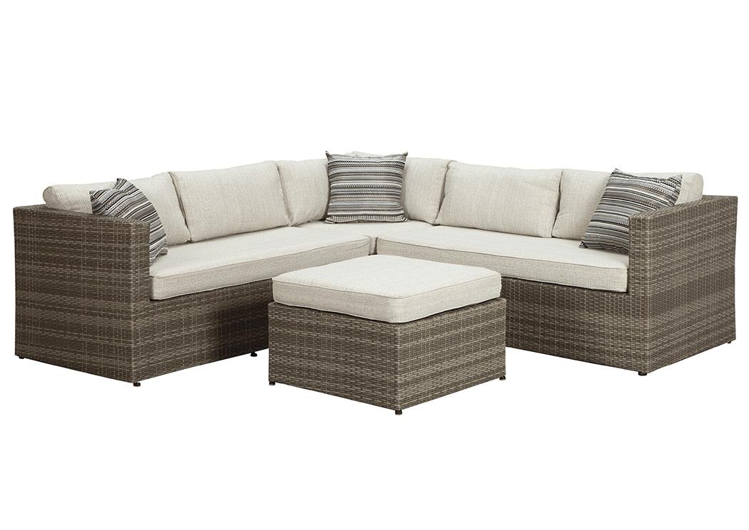 Affordable furniture to go peckham park beige brown sectional for Affordable furniture to go