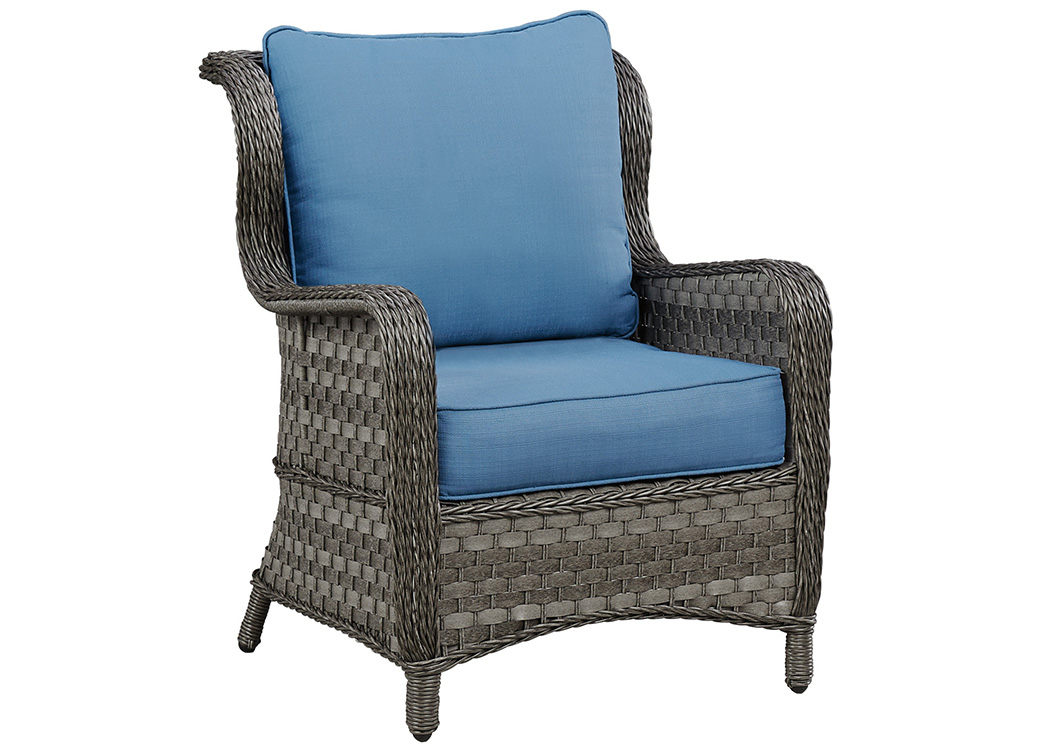 American Furniture Design Abbots Court Blue Gray Lounge Chair w Cushion Set