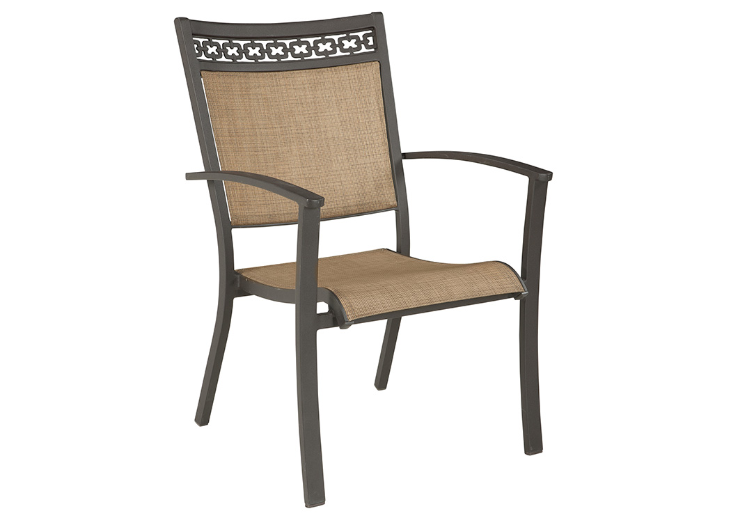 Carmadelia Tan/Brown Sling Chair (Set of 4),Outdoor By Ashley
