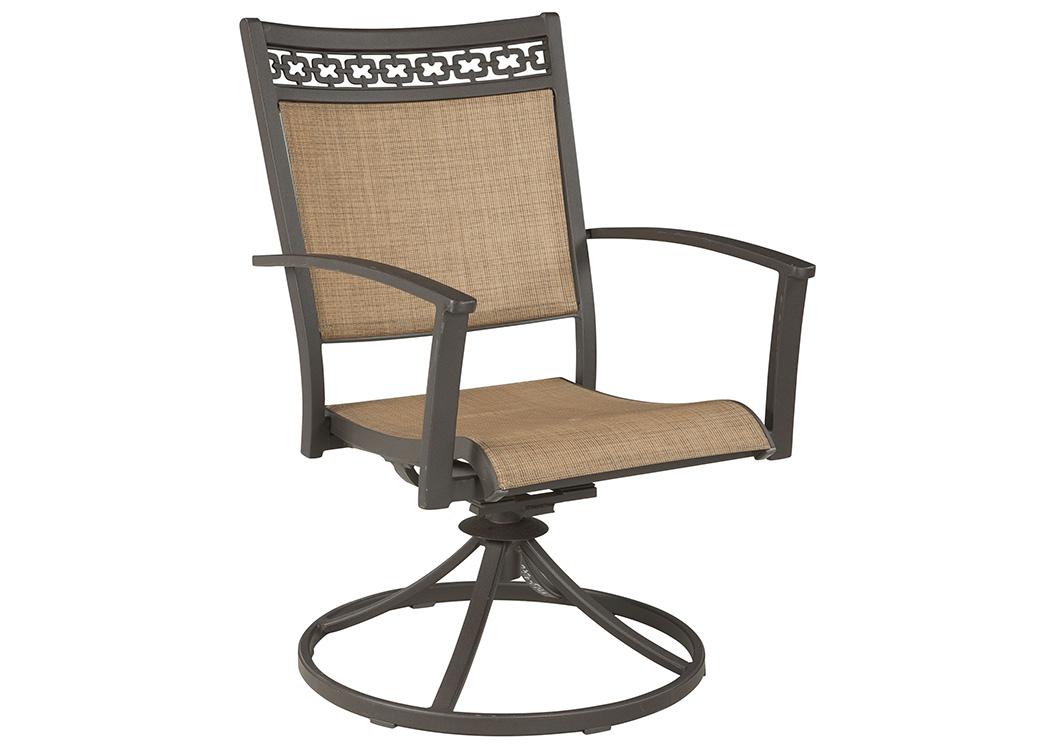 Majek Furniture Carmadelia Tan Brown Sling Swivel Chair