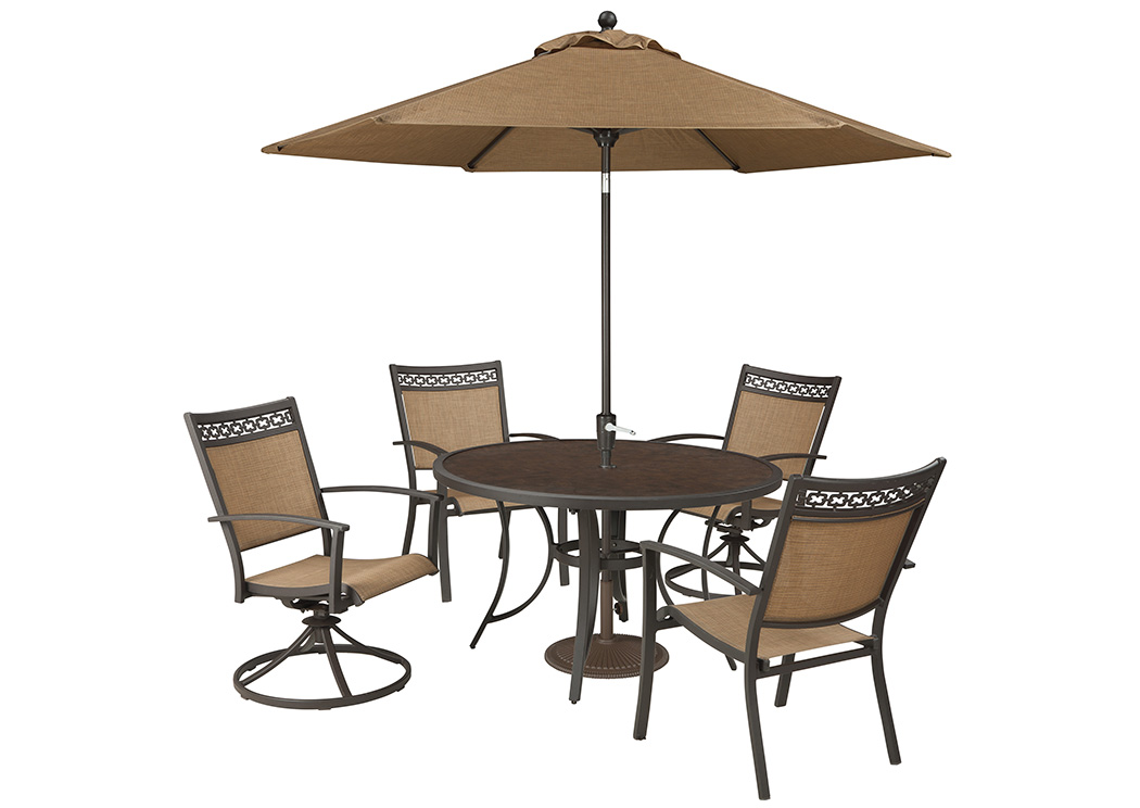 Carmadelia Tan/Brown Round Dining Table w/2 Sling Chairs and 2 Swivel Chairs and Umbrella,Outdoor By Ashley