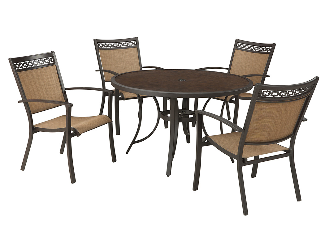 Carmadelia Tan Brown Round Dining Table W 4 Sling ChairsOutdoor By Ashley