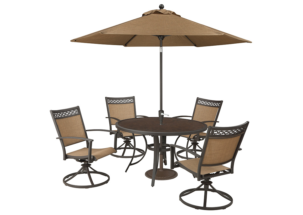 Carmadelia Tan/Brown Round Dining Table W/4 Swivel Chairs And  Umbrella,Outdoor