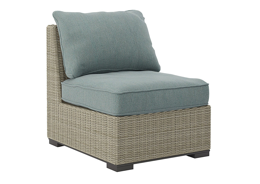 Silent Brook Beige Armless Chair W/Cushion,Outdoor By Ashley