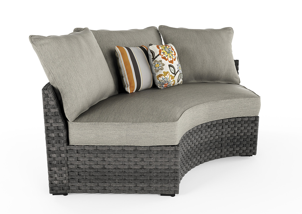 Spring Dew Gray Curved Corner Chair w/Cushion,Outdoor By Ashley