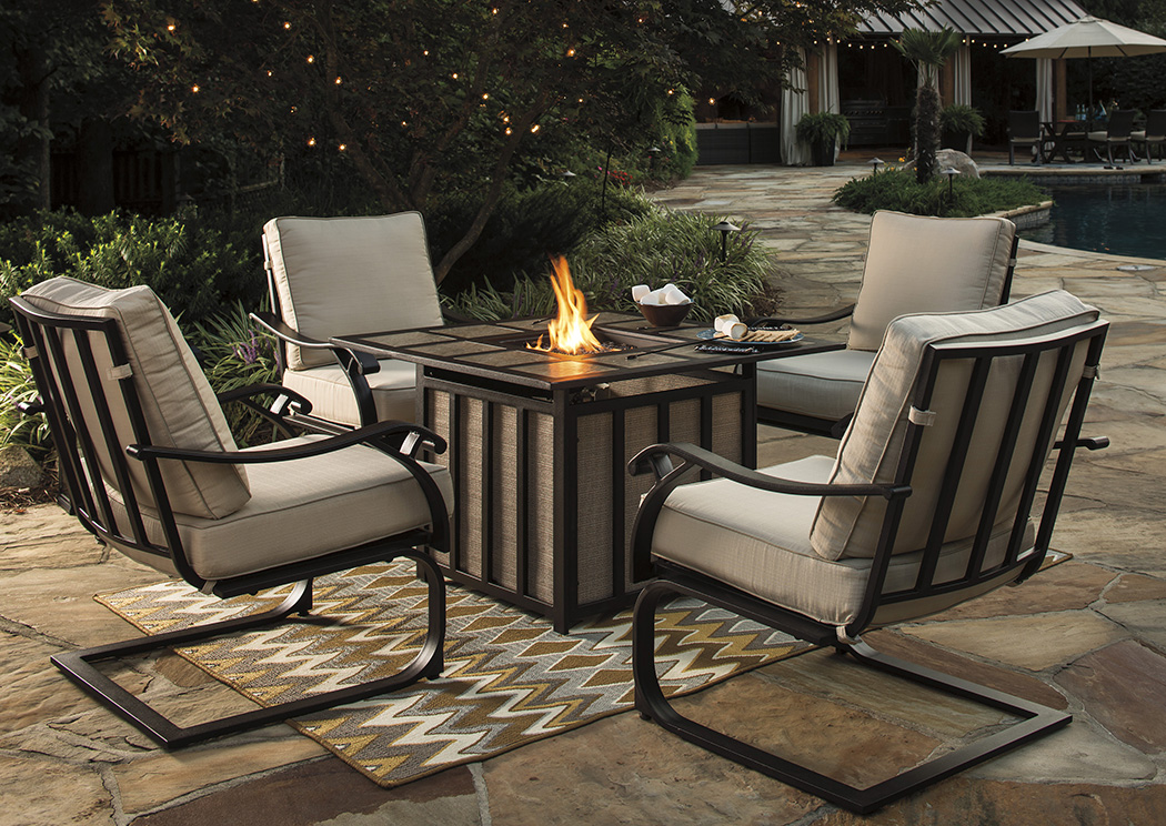 Wandon Square Fire Pit Table w/4 Spring Lounge Chairs,Outdoor By Ashley