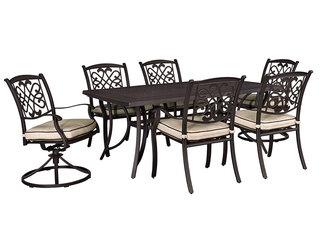 Burnella Beige/Brown Rectangular Dining Table w/2 Swivel Chairs and 4 Sling Chairs,Outdoor By Ashley