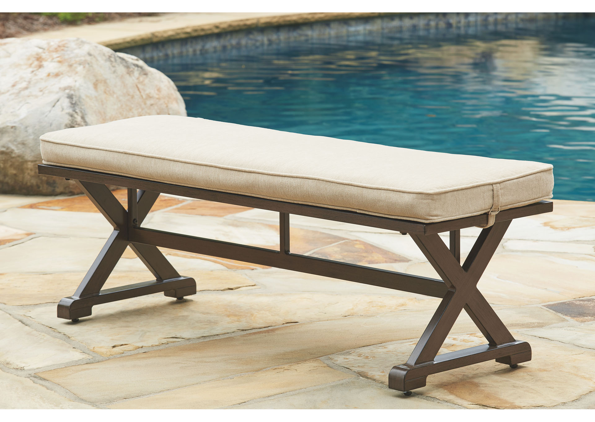 Moresdale Brown Bench w/Cushion,Outdoor By Ashley