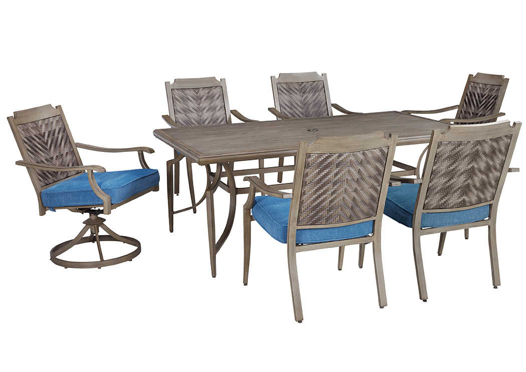Furniture now partanna blue beige rectangular dining table for Dining room table with swivel chairs