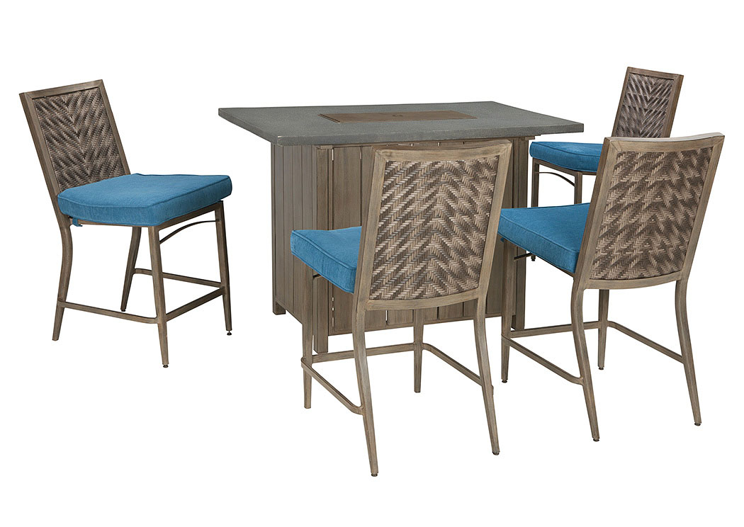 Partanna Blue/Beige Bar Table W/4 Barstools,Outdoor By Ashley