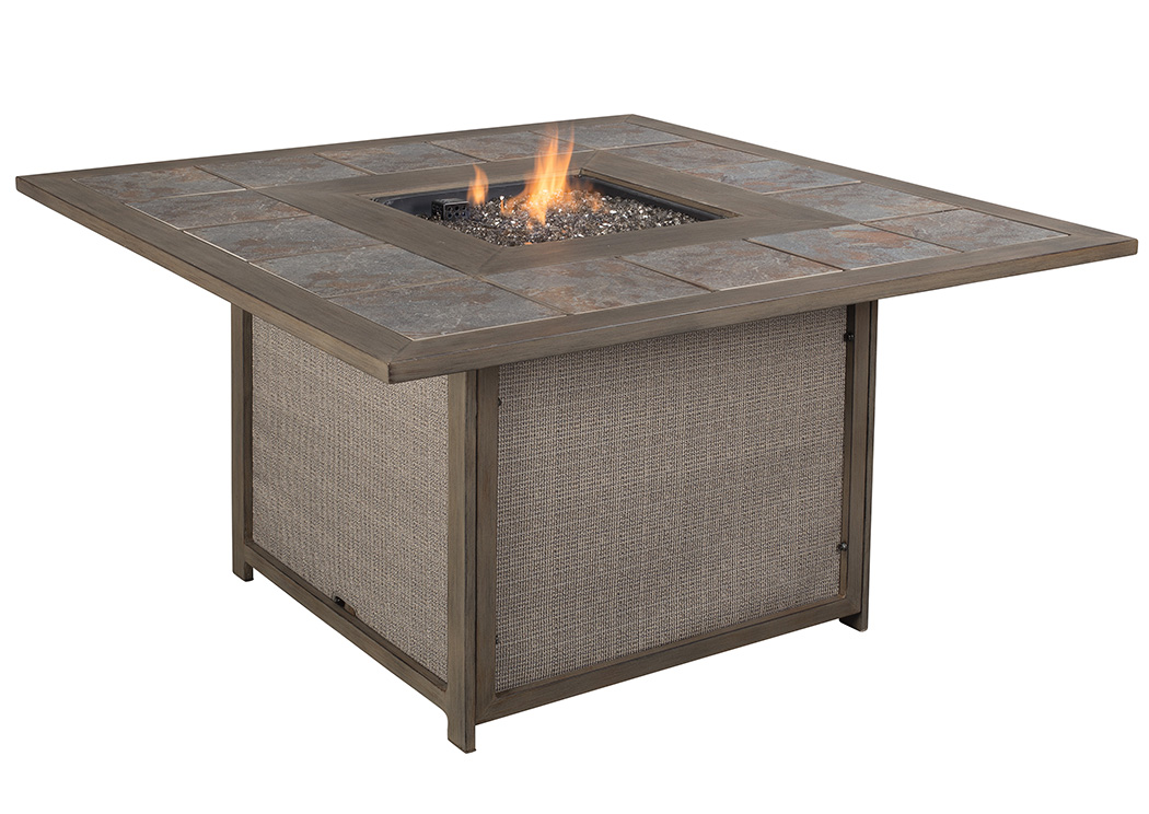 Partanna Blue/Beige Square Fire Pit Table,Outdoor By Ashley