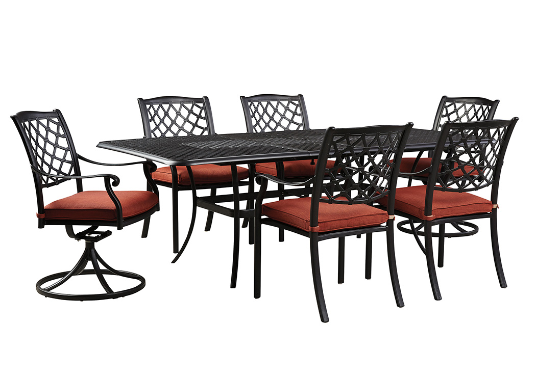Tanglevale Burnt Orange Rectangular Extension Table w/4 Chairs & 2 Swivel Chairs,Outdoor By Ashley