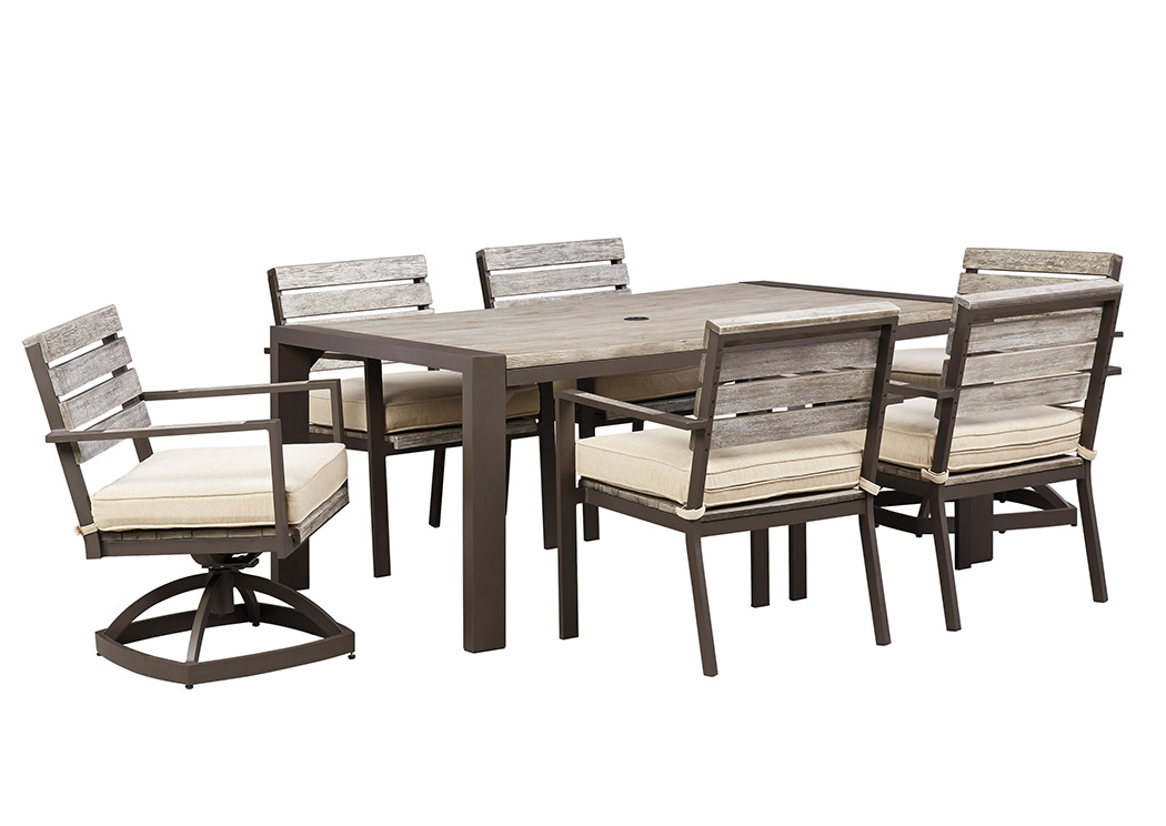 Discount Furniture Stores In Miami , Pembroke Pines U0026 Fort Lauderdale  Peachstone Rectangular Dining Table W/4 Chairs U0026 2 Swivel Chairs