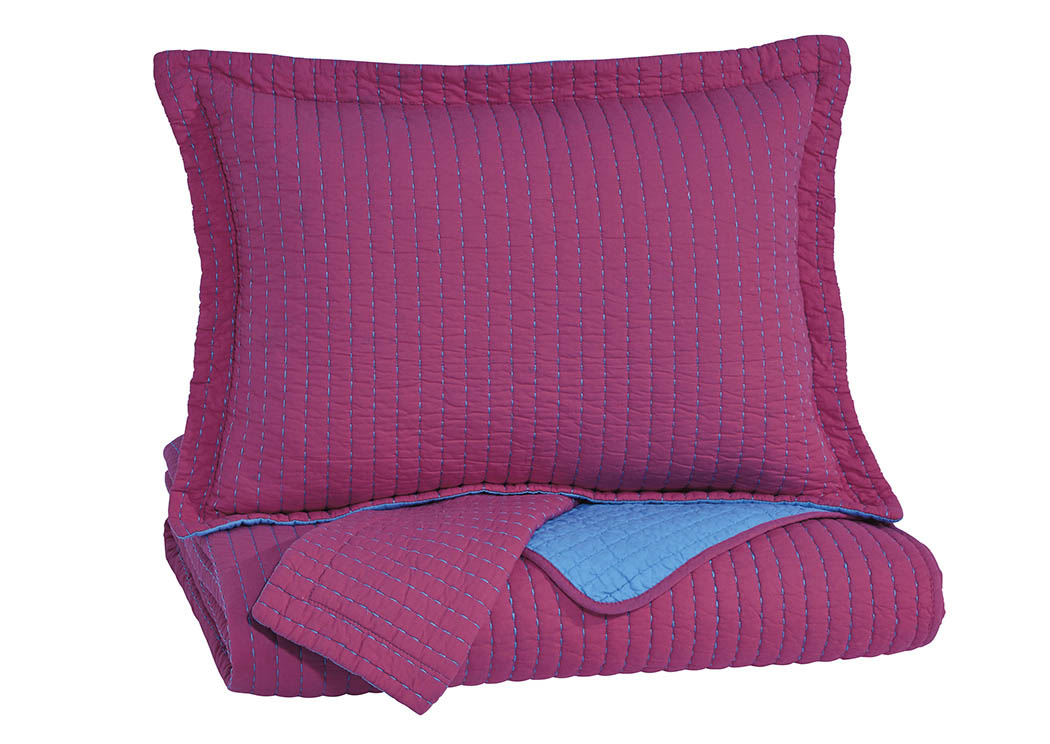 Dansby Magenta/Aqua Full Coverlet Set,Signature Design by Ashley