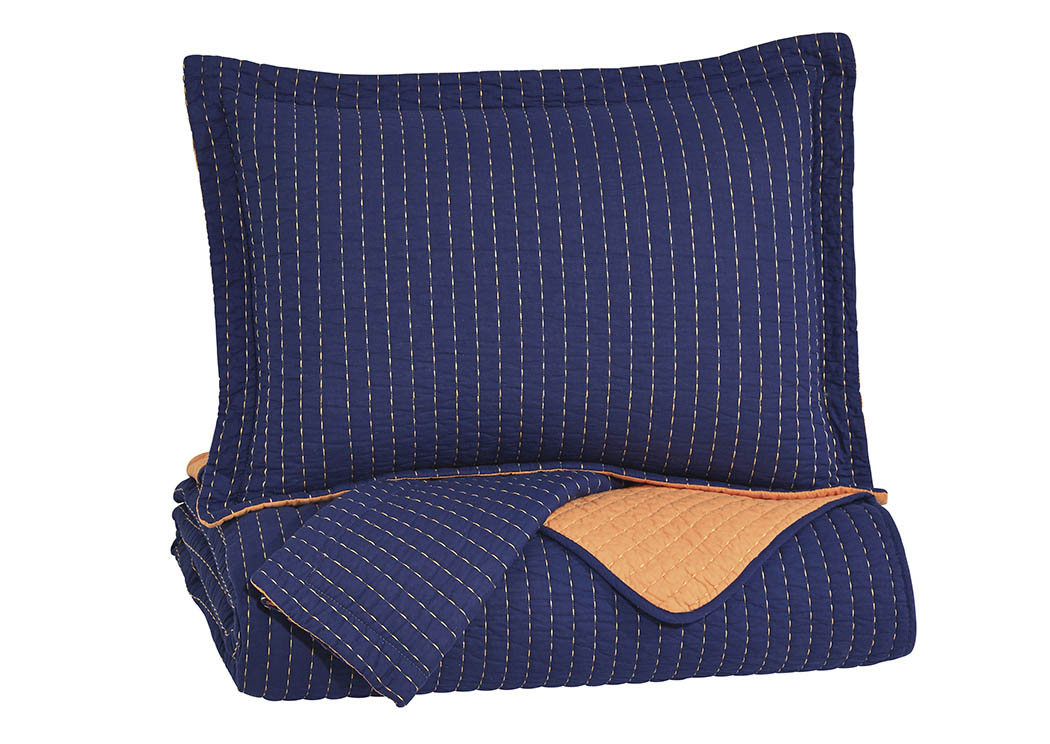Dansby Navy/Orange Full Coverlet Set,Signature Design by Ashley