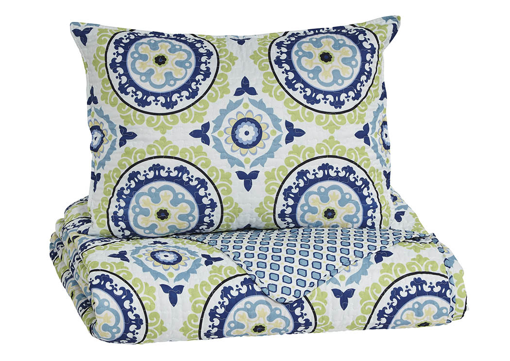 Danesha Blue/Green Twin Coverlet Set,Signature Design By Ashley