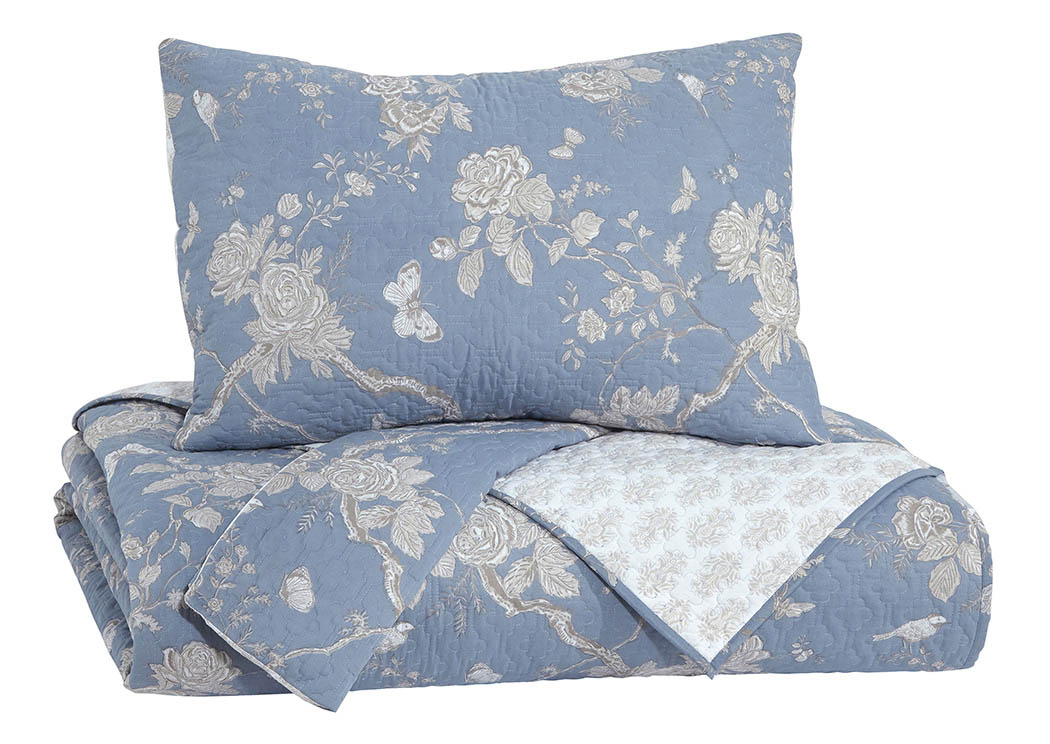 Damita Blue/Beige Queen Quilt Set,Signature Design By Ashley