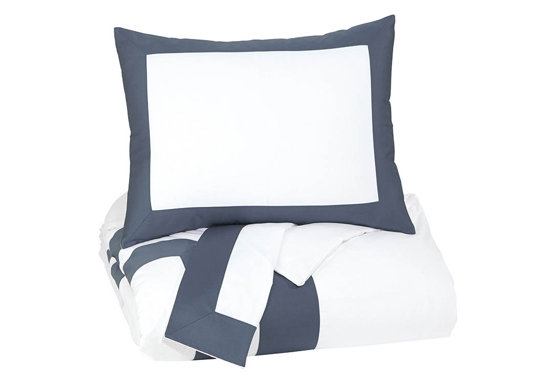 Daruka Blue Queen Duvet Cover Set,Signature Design By Ashley
