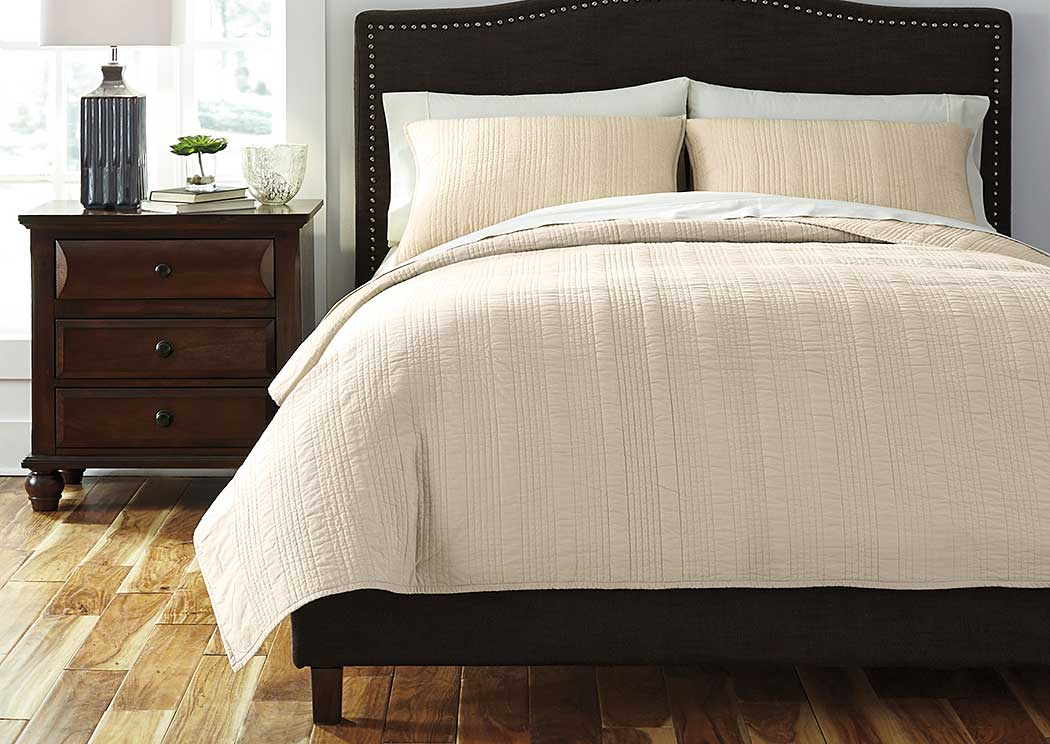 Coverlet Beige Queen Comforter Set,ABF Signature Design by Ashley