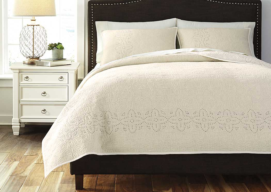 Stitched Off White Queen Comforter Set,ABF Signature Design by Ashley