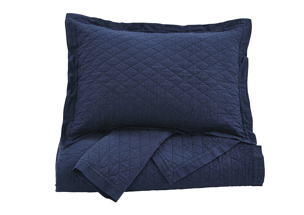 Alecio Navy King Quilt Set,Signature Design By Ashley