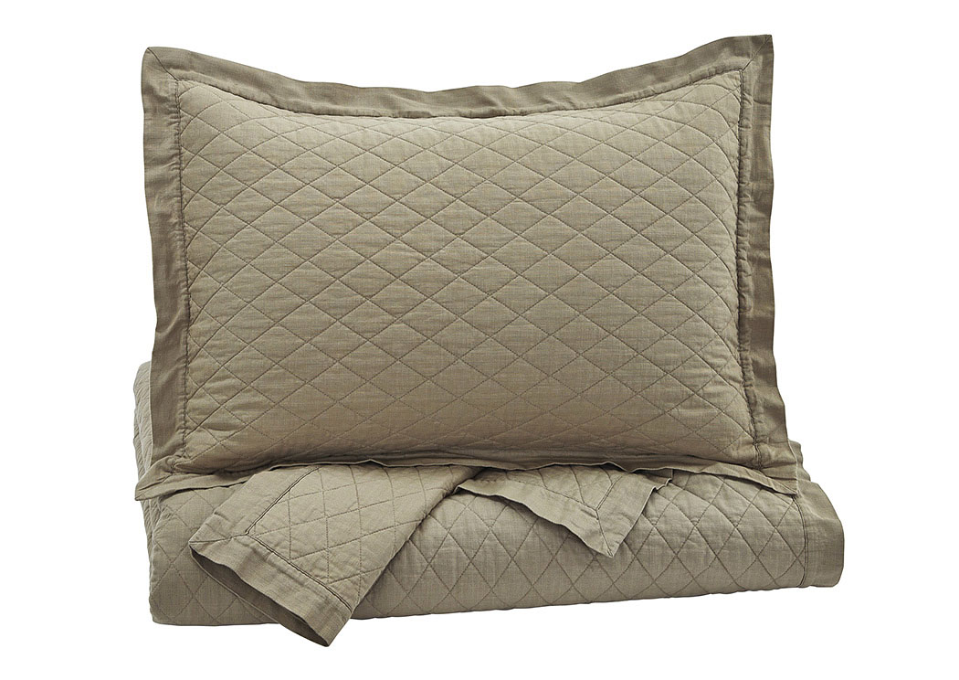 Alecio Sand King Quilt Set,Signature Design by Ashley