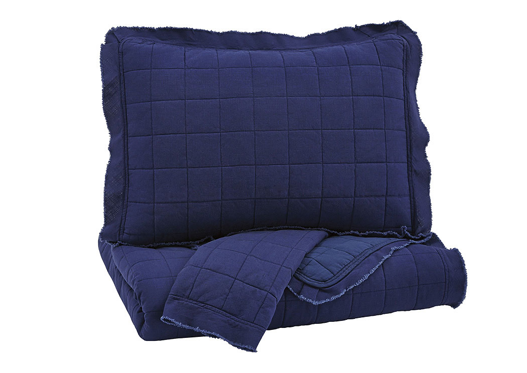 Amare Navy King Coverlet Set,Signature Design by Ashley