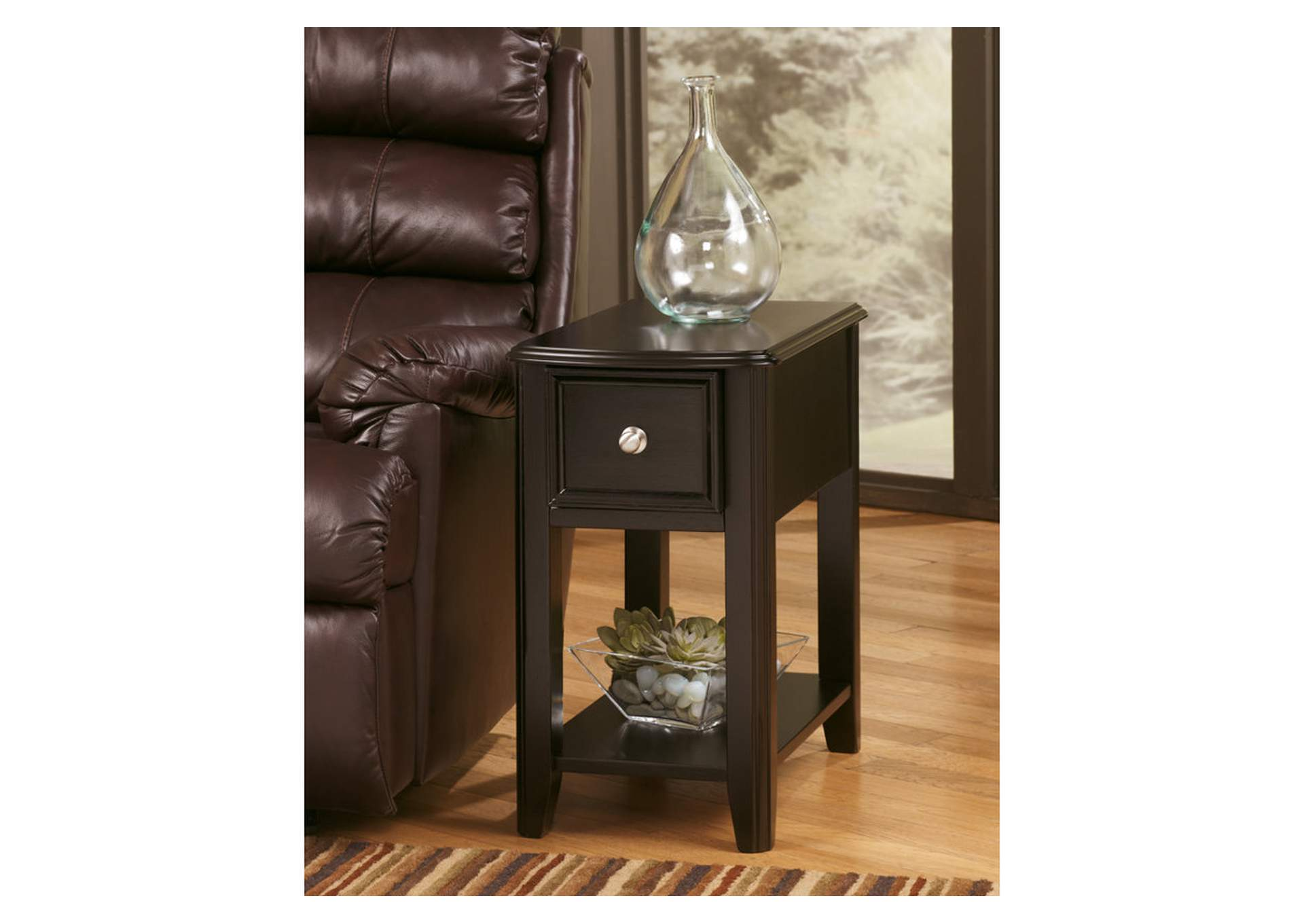 Almost Black Finish Chair Side End Table,48 Hour Quick Ship