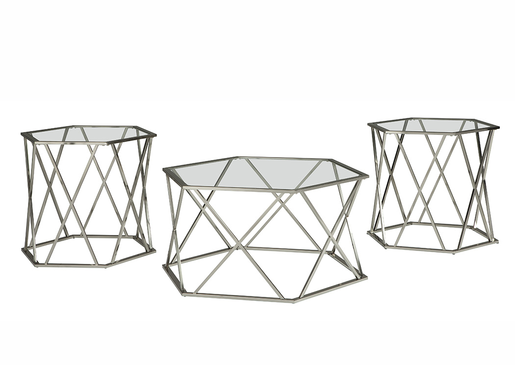 Madanere Chrome Finish Occasional Table Set,ABF Signature Design by Ashley