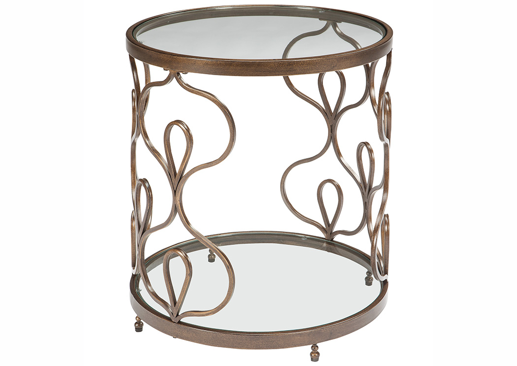 Major Discount Furniture Fraloni Bronze Finish Round End Table