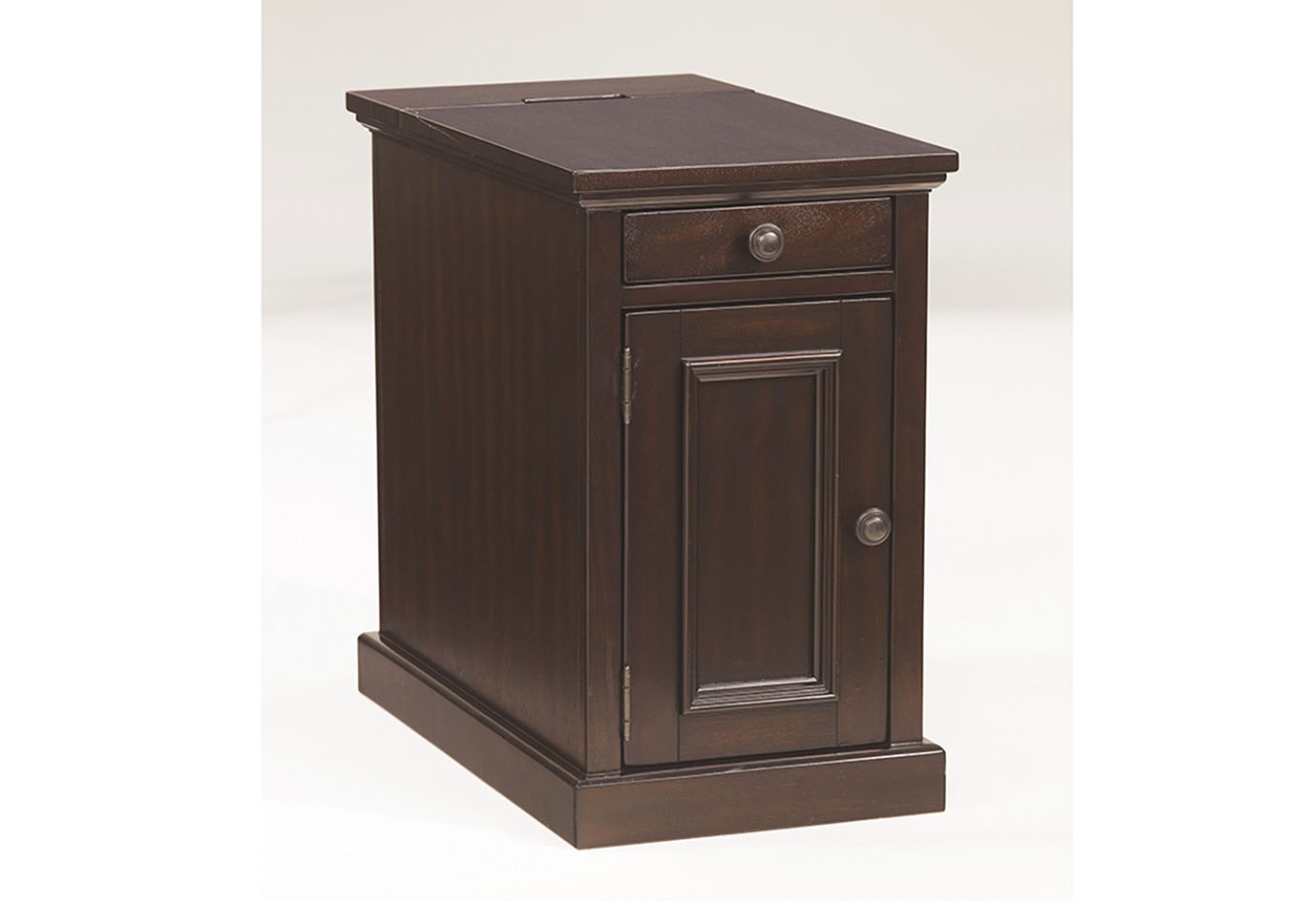 Delightful Sable Stain Finish Power Chairside End Table