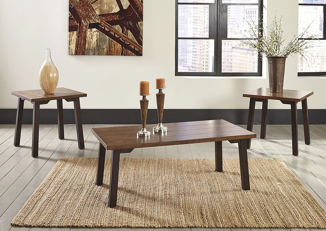 Latoon Two-tone Brown Occasional Table Set (Cocktail & 2 Ends),Signature Design by Ashley