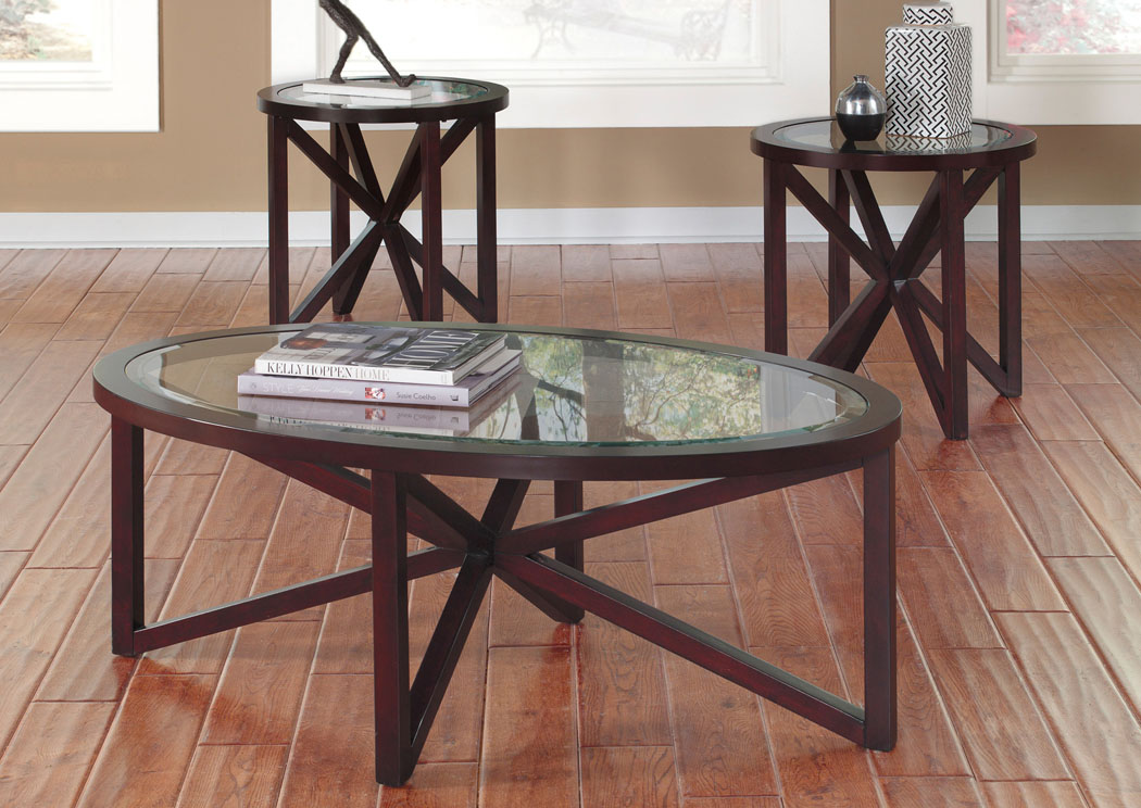 Sleffine Occasional Table Set (Cocktail & 2 Ends),Signature Design By Ashley