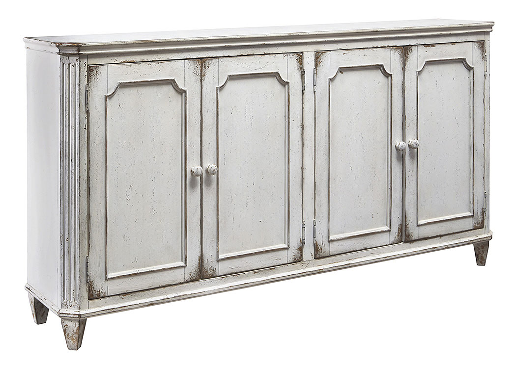 Mirimyn Antique White 4 Door Accent Cabinet,ABF Signature Design by Ashley