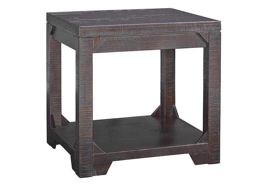 American Furniture Galleries Rogness Rustic Brown Rectangular End Table
