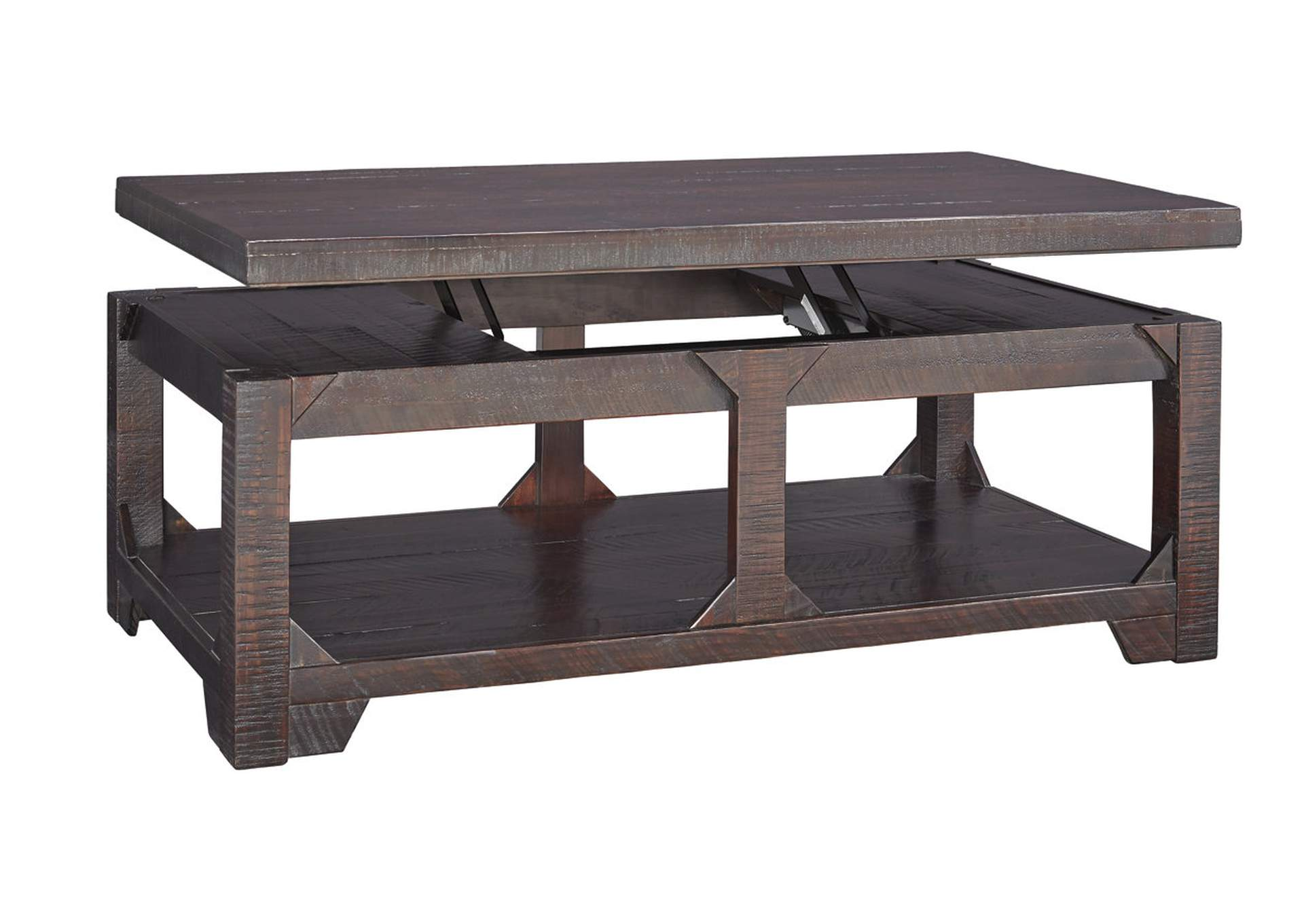 Furniture Outlet Chicago Llc Chicago Il Rogness Rustic Brown Lift Top Cocktail Table