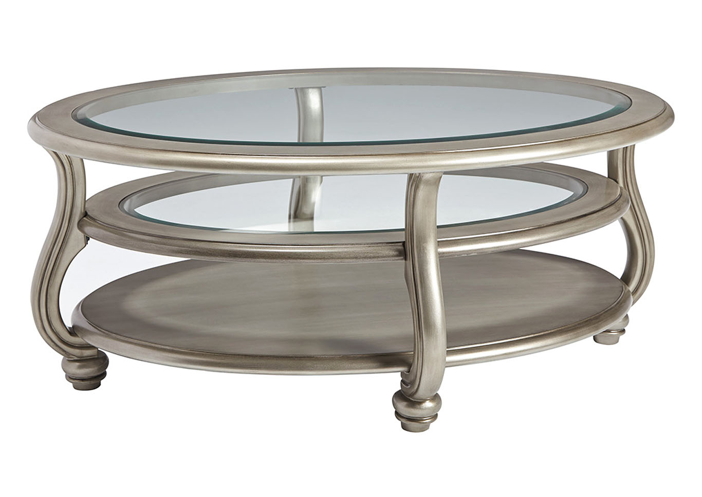 Alabama Furniture Market Coralayne Silver Finish Oval Cocktail Table