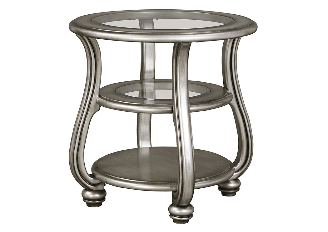 Coralayne Silver Finish Round End Table,Signature Design By Ashley
