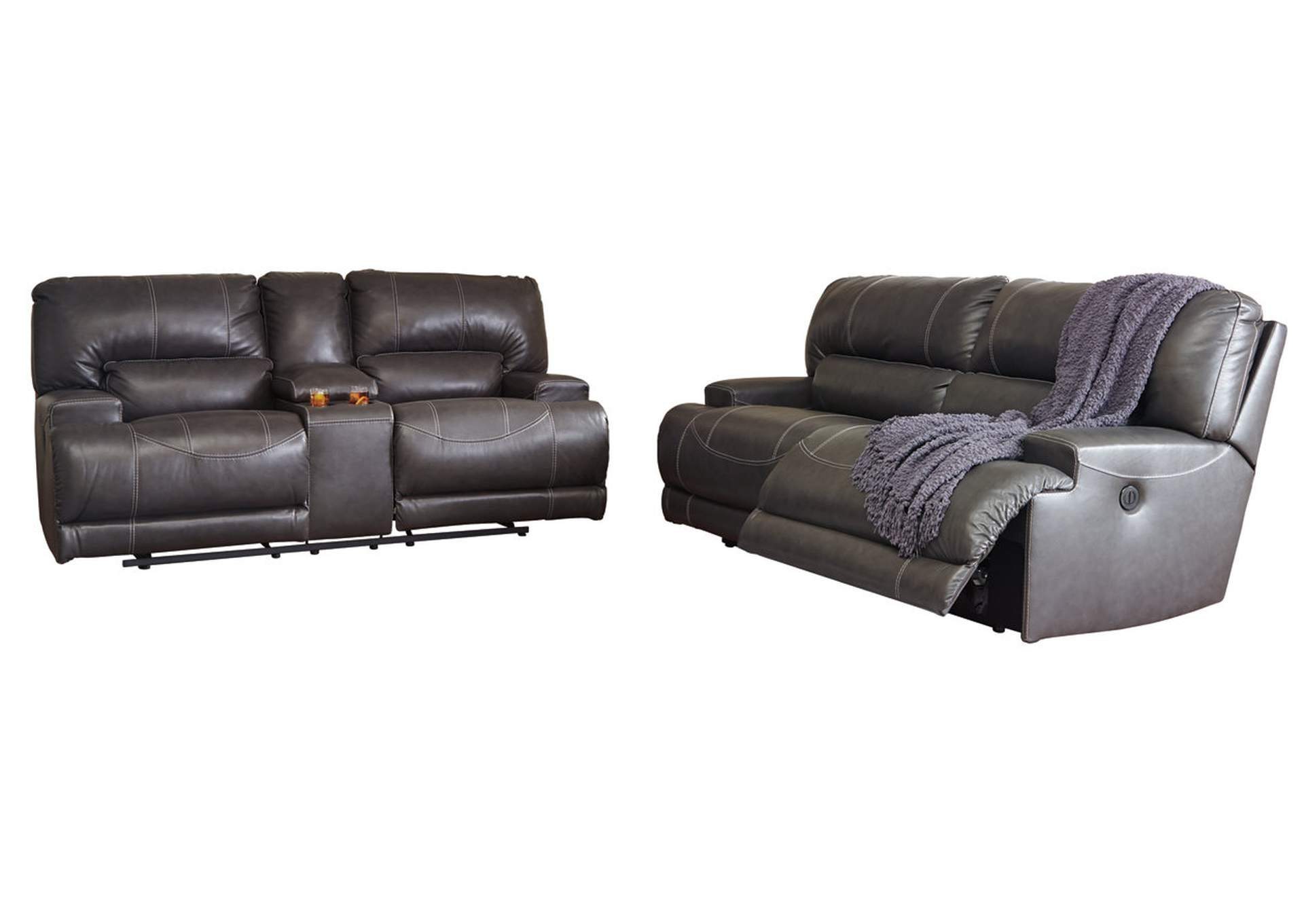 American Furniture Galleries Mccaskill Gray 2 Seat Reclining Power Sofa And Loveseat