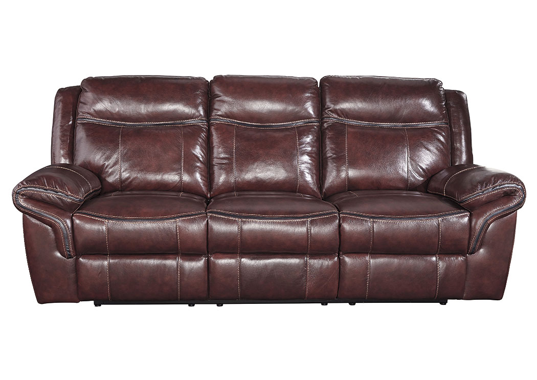 Zephen Mahogany Power Reclining Sofa,Signature Design by Ashley