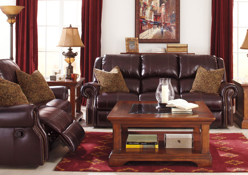 Walworth Black Cherry Reclining Power Sofa Loveseat