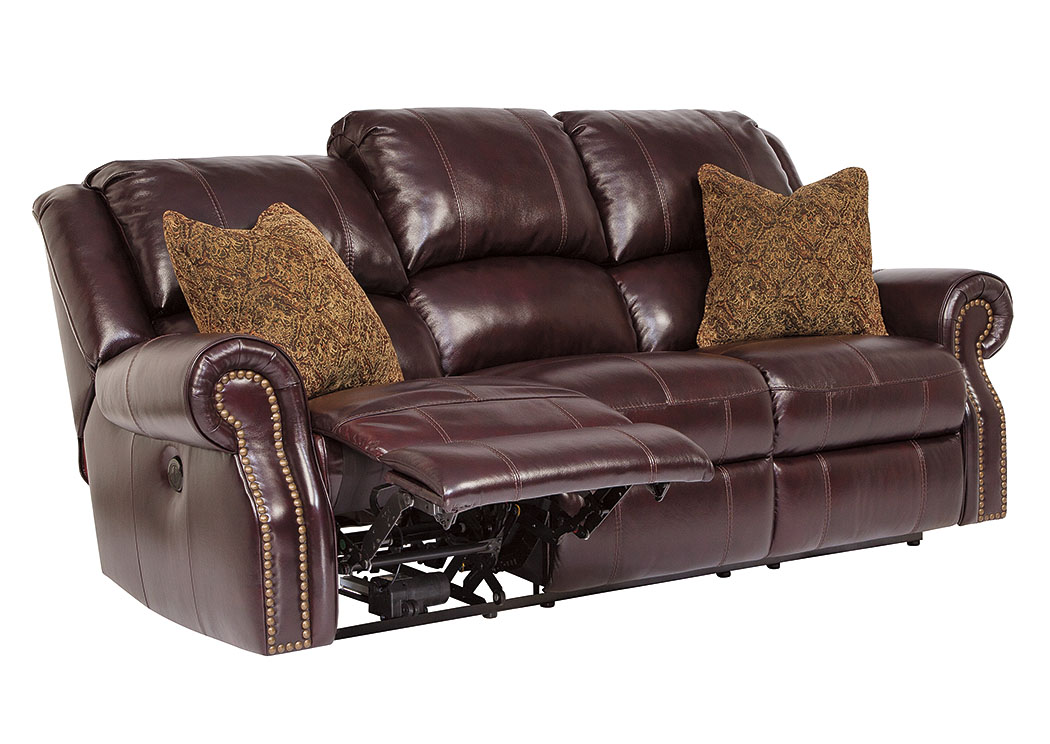 Walworth Black Cherry Reclining Sofa,Signature Design by Ashley