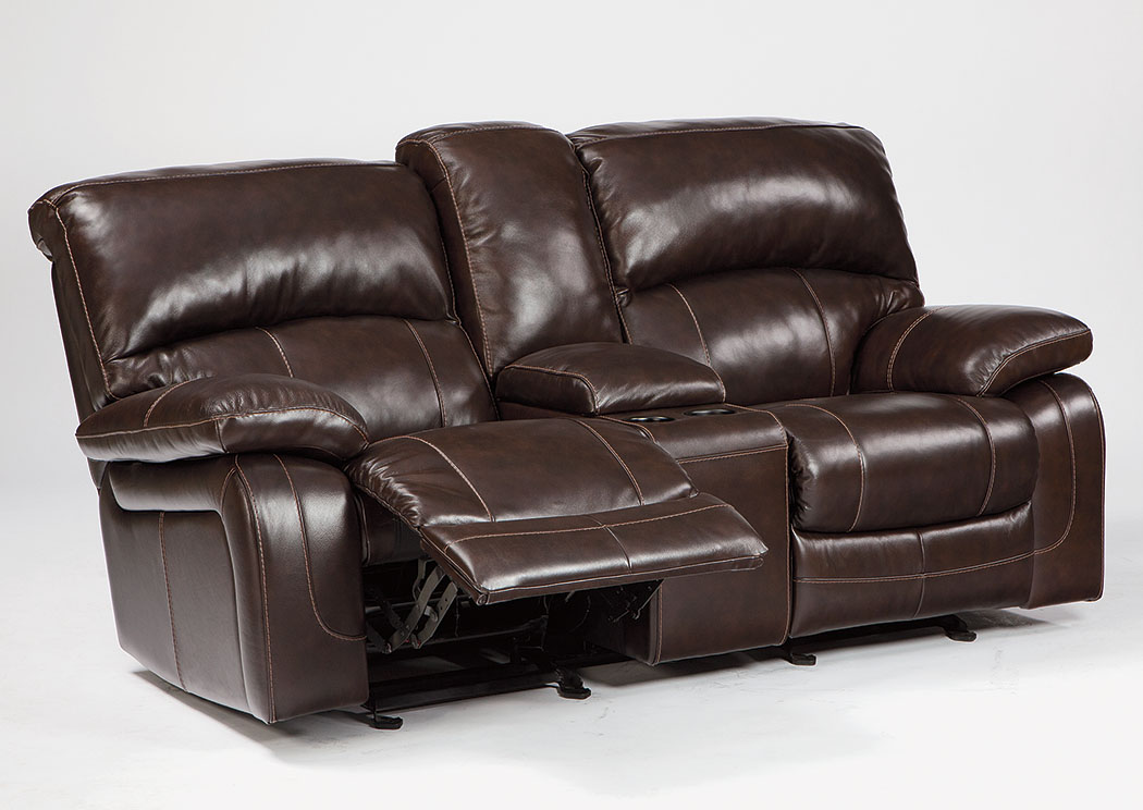 Damacio Dark Brown Glider Reclining Loveseat w/Console,Signature Design By Ashley