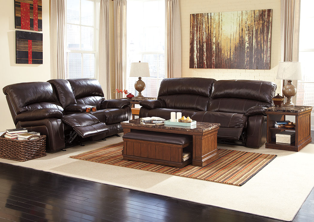 Damacio Dark Brown Reclining Power Sofa & Loveseat,Signature Design By Ashley