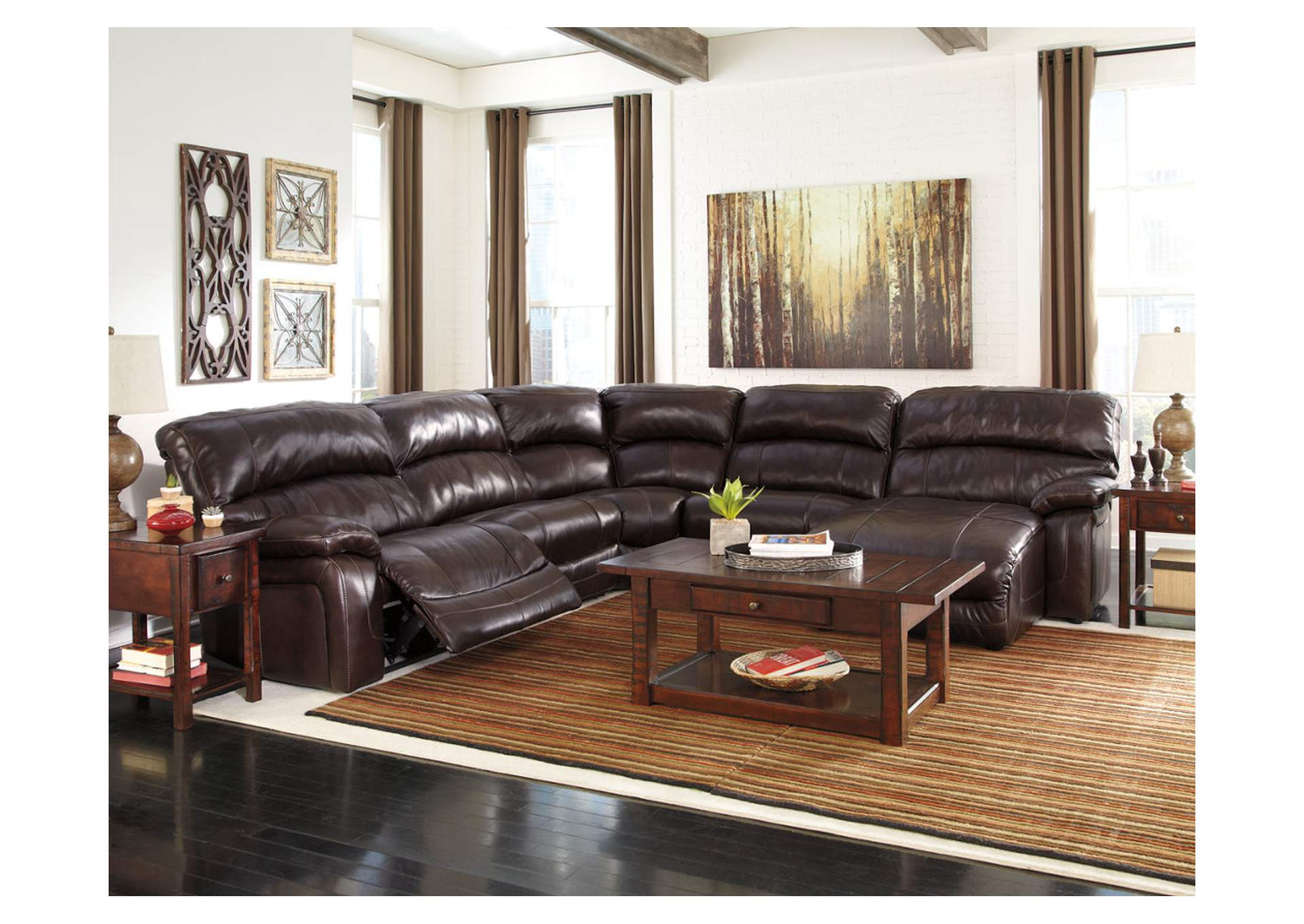 Crawford 39 s furniture damacio dark brown reclining right for Brown leather chaise end sofa
