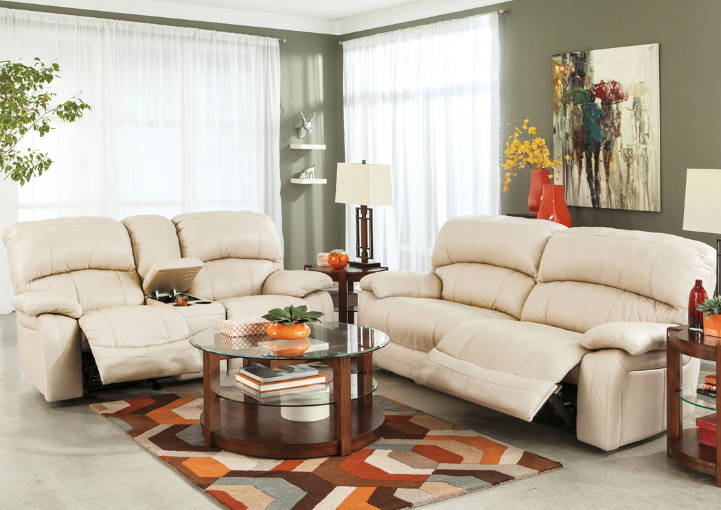 Damacio Cream Reclining Sofa & Loveseat,Signature Design by Ashley
