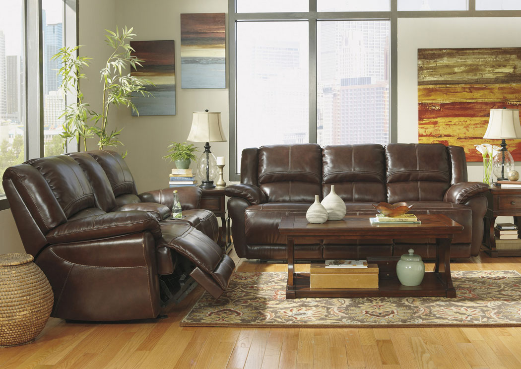 Lenoris Coffee Reclining Sofa & Loveseat,Signature Design by Ashley