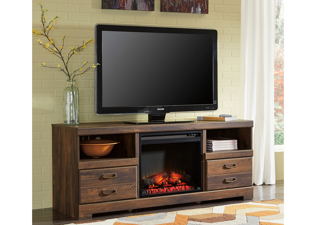 Price Point Furniture Quinden Large TV Stand w/LED Fireplace Insert