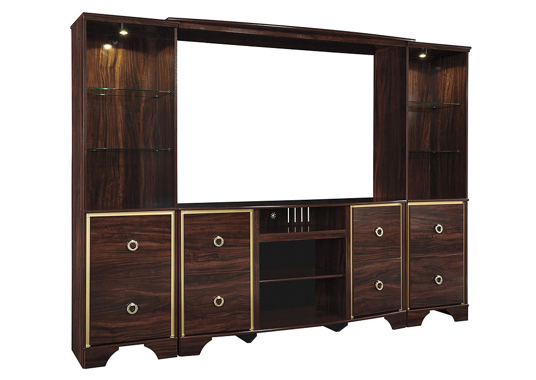 Lenmara Reddish Brown Entertainment Center,ABF Signature Design by Ashley