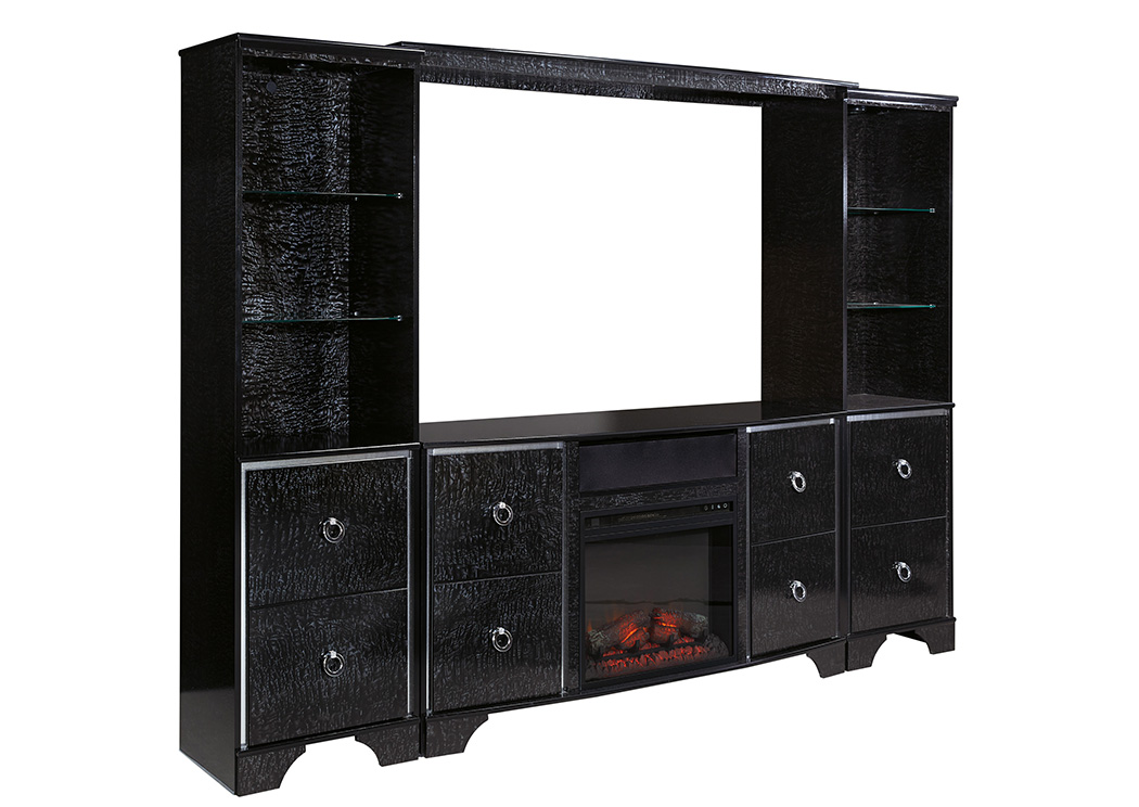 Amrothi Black Large Entertainment Center w/Fireplace Insert,ABF Signature Design by Ashley